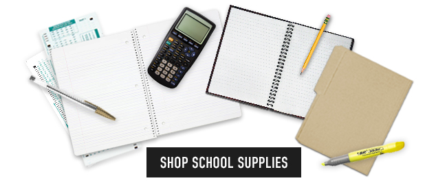 Picture of school supplies. Click to shop now.