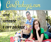 Send someone a care package. Picture of two students having picnic. Click to go to carepackages.com